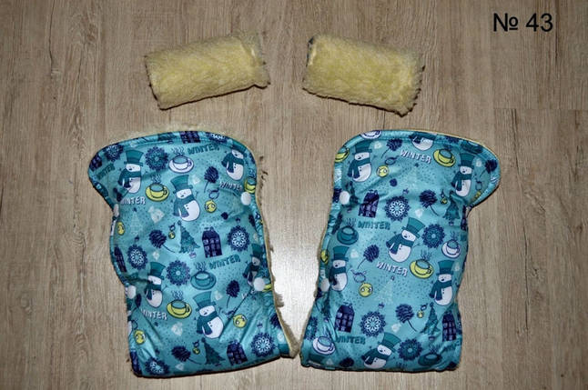 Зимние рукавички на овчине на коляску и санки со снеговиком голубого цвета, фото 2