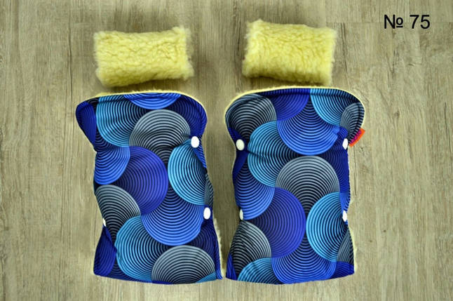 Зимние рукавички на овчине для колясок и санок синего цвета, фото 2
