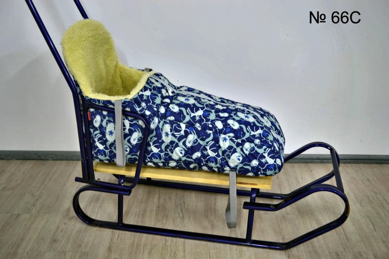 Теплый чехол на меху с высокой спинкой для санок и колясок