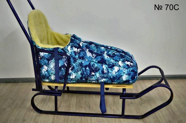 Зимний конверт на овчине с высокой спинкой для санок и колясок, фото 2