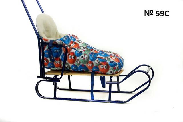 Яркий зимний чехол для санок и колясок с высокой спинкой, фото 2