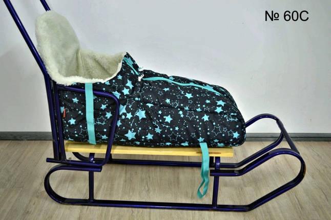 Комплект зимний чехол с высокой спинкой для санок и колясок и рукавицы, фото 2