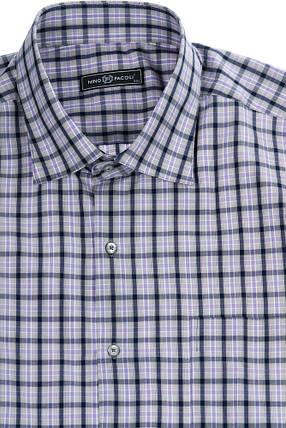 Рубашка мужская (батал) в клетку, повседневная 50PD21447-3 (Фиолетово-серый), фото 2