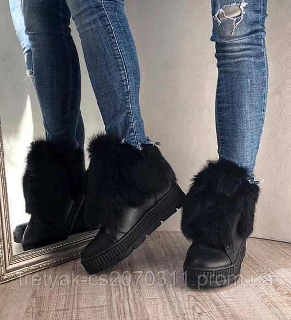 Женские кожаные зимние ботинки с меховой опушкой