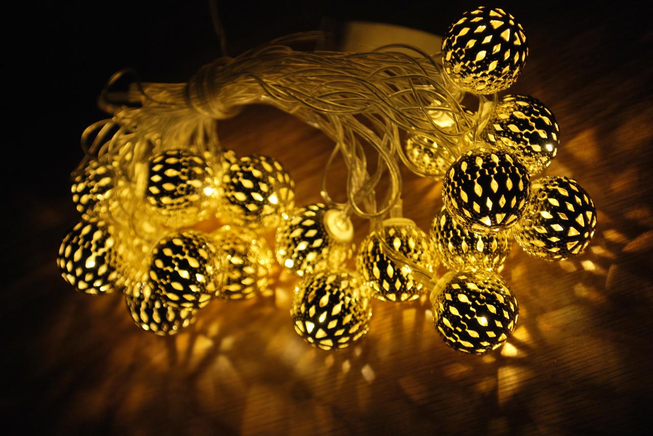 Новорічна гірлянда, кульки, колір кульки срібло 20LED