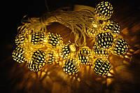 Новогодняя гирлянда, шарики, цвет шарика серебро 20LED