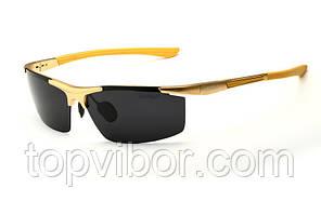 Солнцезащитные очки мужские Veithdia - золотая оправа