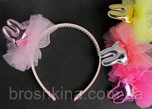 Обручи для волос детские с фатином Зайчики 12 шт/уп