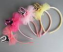 Обручи для волос детские с фатином Зайчики 12 шт/уп, фото 3