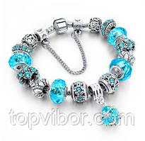 Женский браслет в стиле Pandora Пандора Шарм (реплика), цвет - голубой, с доставкой по Киеву и Украине