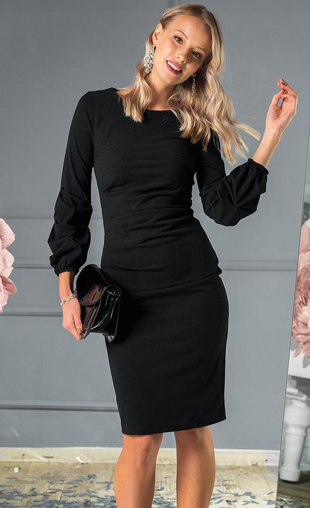 5101ecf1e7b Вечернее платье миди черного цвета с длинным рукавом. Модель 19736. Размеры  42-46