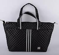 Сумка женская стеганая Adidas черная 52х32х16 (реплика)