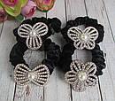 Бархатные резинки для волос со стразами и бусинами черные 12 шт/уп, фото 2