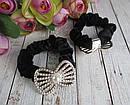 Бархатные резинки для волос со стразами и бусинами черные 12 шт/уп, фото 3