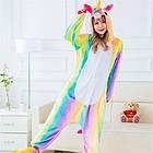 Пижама Женская Кигуруми радужный единорог M флисовая теплая, фото 2