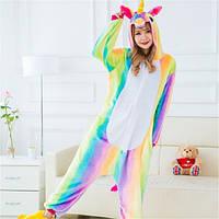 Пижама Женская Кигуруми радужный единорог M флисовая теплая