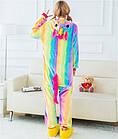 Пижама Женская Кигуруми радужный единорог M флисовая теплая, фото 3