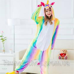 Пижама женская Кигуруми радужный единорог L флисовая
