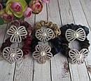 Бархатные резинки для волос со стразами и жемчугом цветные 12 шт/уп, фото 2