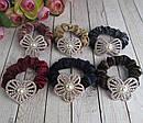 Бархатные резинки для волос со стразами и жемчугом цветные 12 шт/уп, фото 3