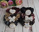 Бархатные резинки для волос со стразами цветные 12 шт/уп, фото 2