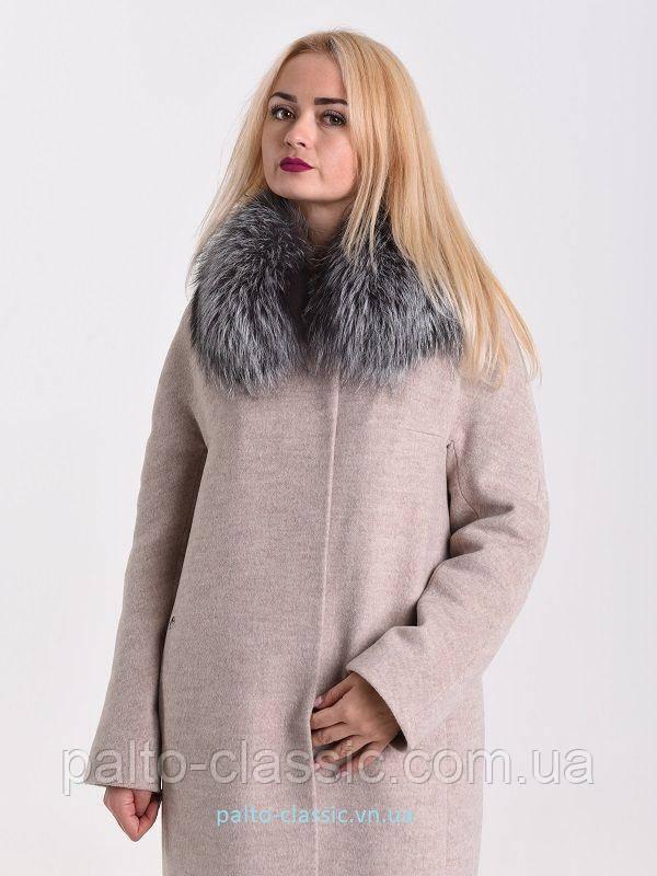 5447885568e Женского пальто Albanto p-282 1 с натуральным мехом чернобурки - Пальто  Классик и