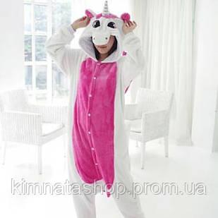Пижама Кигуруми Единорог Бело-розовый (L)