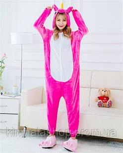 Пижама женская зимняя Кигуруми Единорог Малиновый размер L Kigurumi