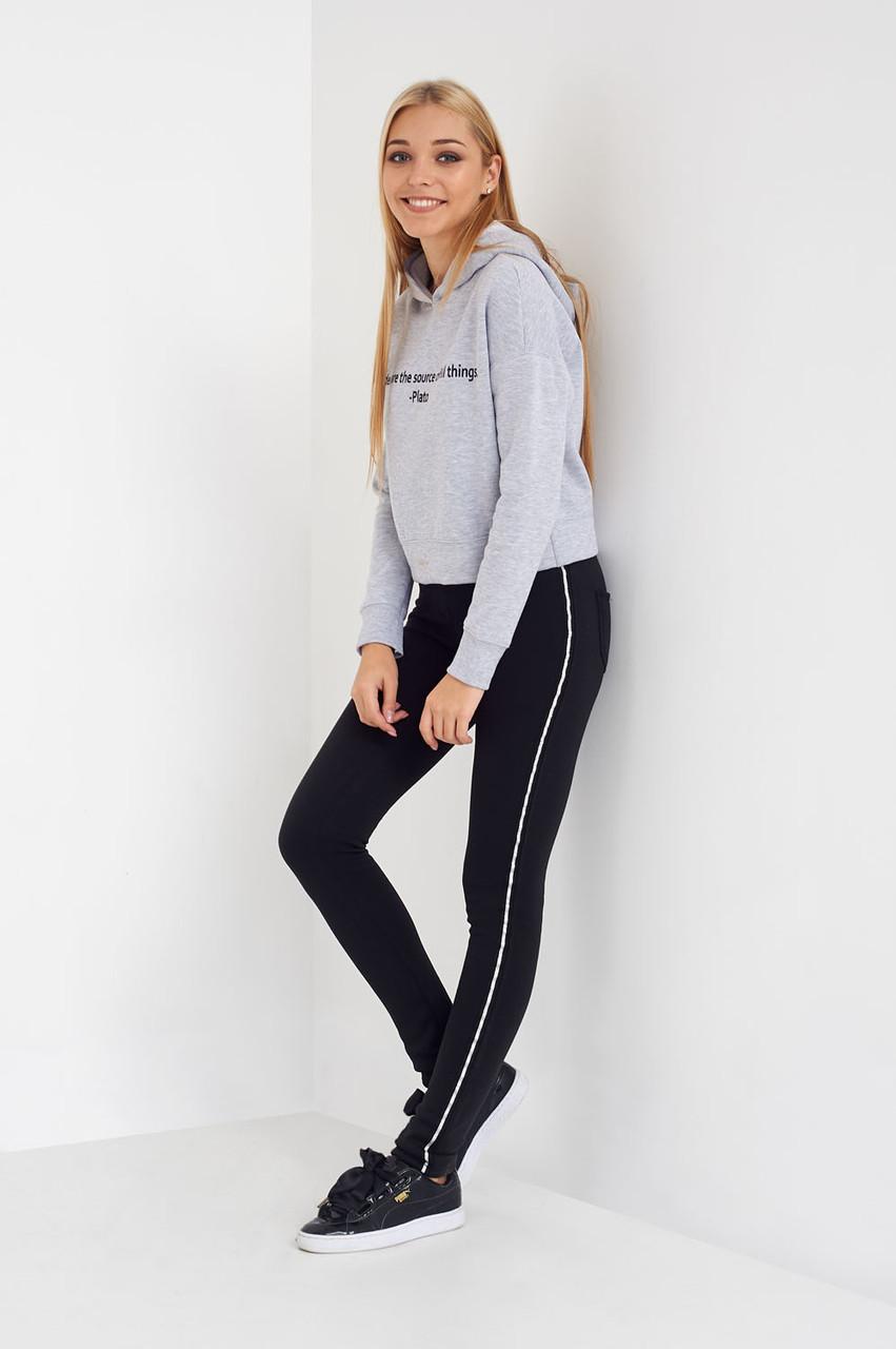 58aa87a9975b5 Теплые зимние лосины на меху цвет черный с лампасами - Оптово-розничный  магазин одежды