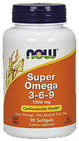 NOW Super Omega 3-6-9 1200 mg 90 softgels, НАУ Супер Омега 369 1200 мг 90 капсул