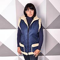 38e6f1341f6dc Жилетка женская стеганая на молнии синяя 46-58р из овечьей шерсти с  карманами
