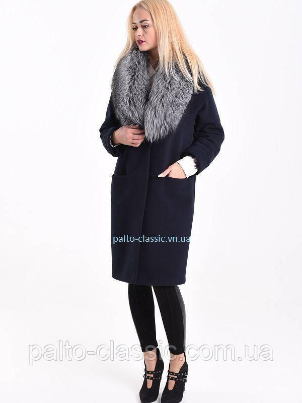 7913d3ff30f Кашемировое пальто с натуральным мехом чернобурки