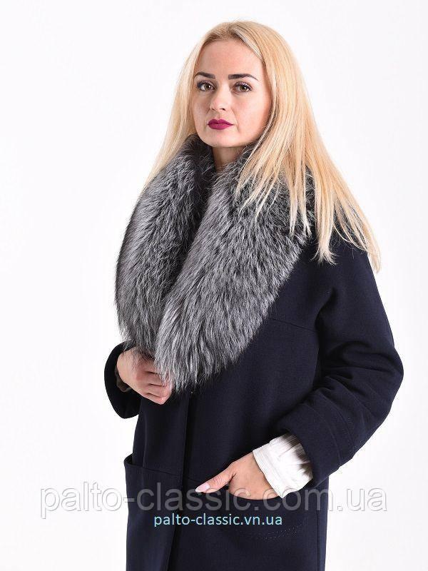 84116c6b942 Кашемировое пальто с натуральным мехом чернобурки - Пальто Классик и  Serebro so Swarovski в Виннице