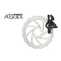 Тормоз передний дисковый  механический Tektro Aquila в комплекте с ротором 160мм+калипер+болты черный