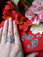 Эксклюзивный серебряный комплект Кипарис (серьги и кольцо)