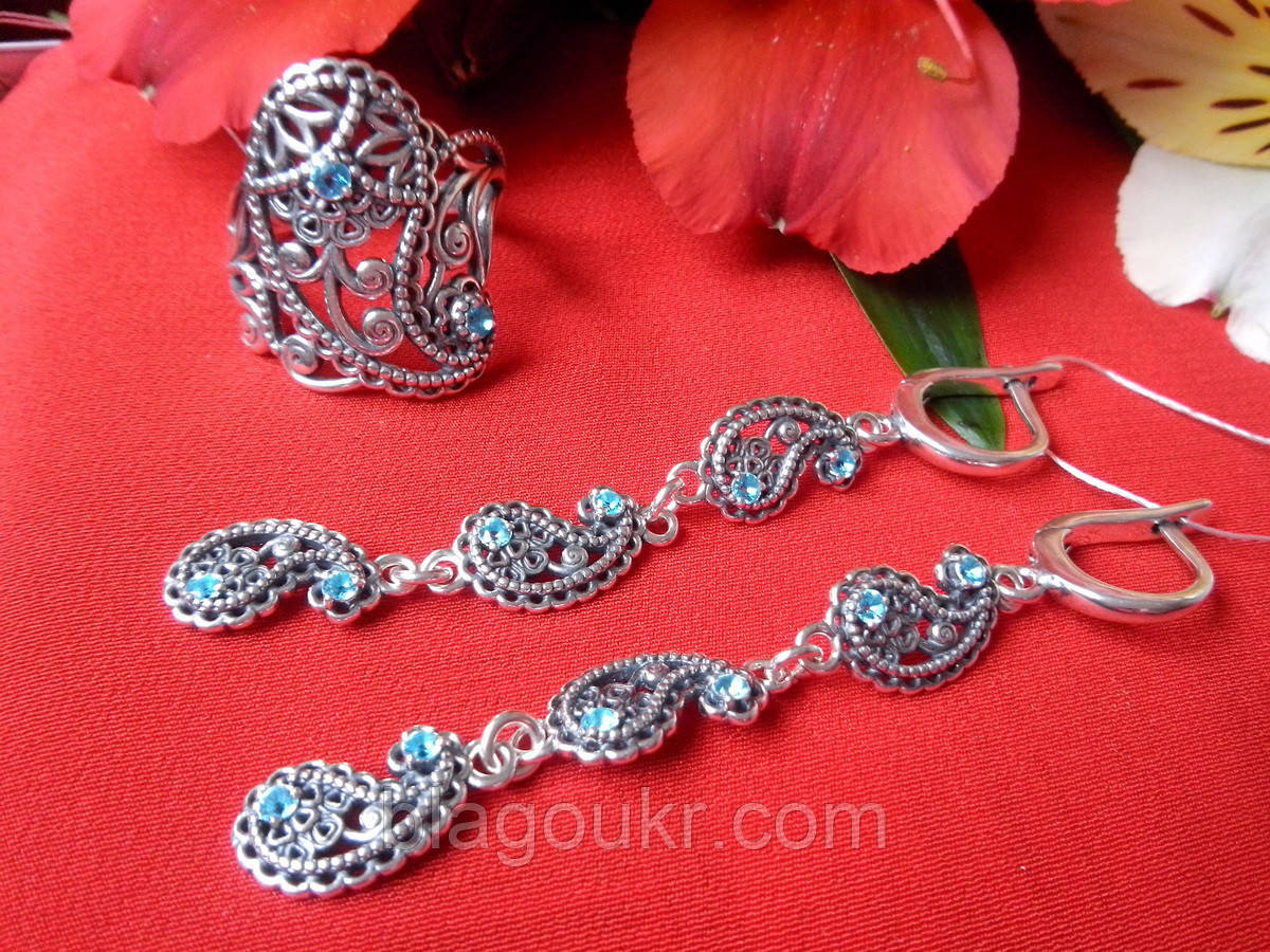 Ексклюзивний срібний комплект Кипарис (сережки і кільце)