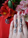 Ексклюзивний срібний комплект Кипарис (сережки і кільце), фото 2