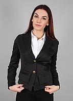 Пиджак женский молодежный с подкладкой черный в деловом стиле (Жакет жіночий чорний)