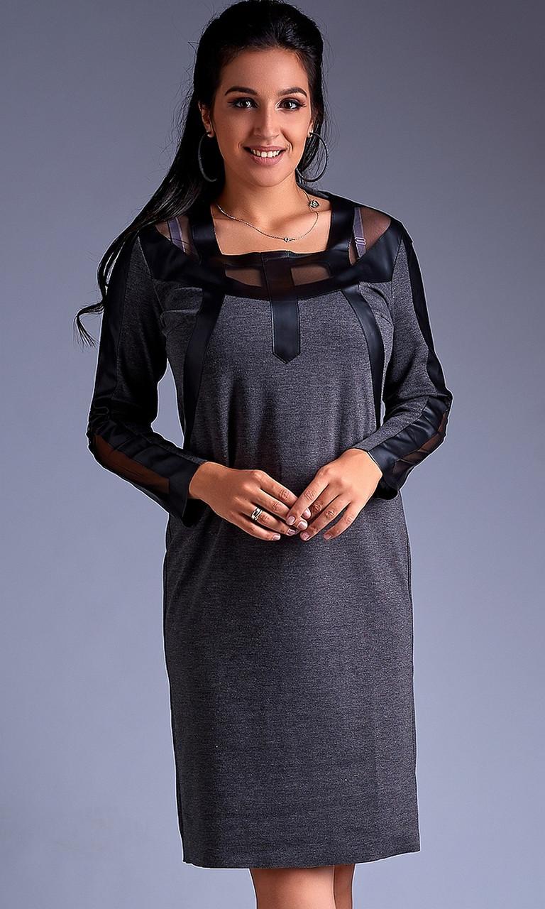 Модное трикотажное платье батал