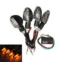 4шт мотоцикл 10 LED Индикатор сигнала поворота янтарный с мигалкой реле - 1TopShop