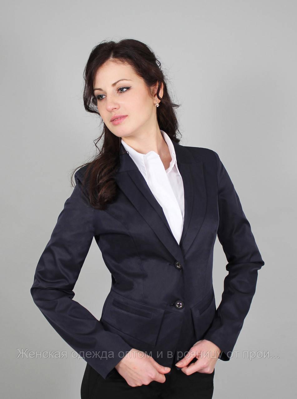 """Пиджак женский молодежный с подкладкой синий в деловом стиле (Жакет жіночий синій) - Женская одежда оптом и в розницу """"RomStyle"""" в Хмельницком"""