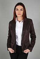 Пиджак женский молодежный с подкладкой коричневый в деловом стиле (Жакет жіночий коричневий)