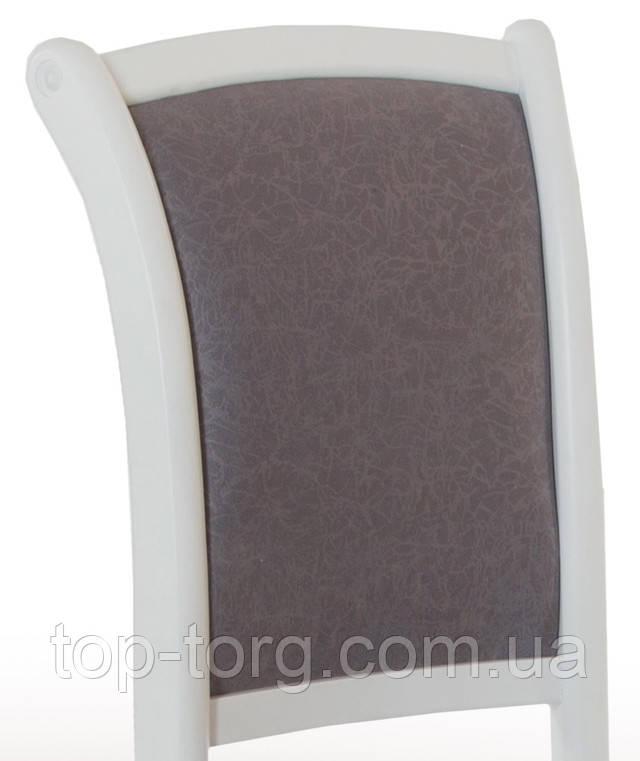 Стулья Лорд белые. Мягкое сиденье и спинка. Серая однотонная текстурная обивка Милан 6В