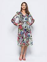 Повітряне плаття з принтованого креп-шифону. V-подібний виріз горловини з  квітковим принтом f724e5817bf04