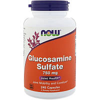 NOW Glucosamine Sulfate 750 mg 240 caps, НАУ Глюкозамин Сульфат 750 мг 240 капсул