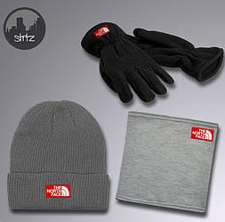 Мужской комплект шапка + бафф + перчатки The North Face серого цвета (люкс копия)