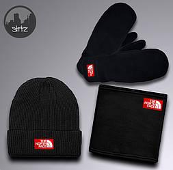 Мужской комплект шапка + бафф + перчатки The North Face черного цвета (люкс копия)