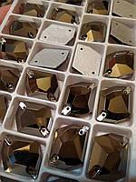 Стразы пришивные Космик (ломаный ромб) 16х21 мм Jet Hematite, стекло