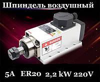 Шпиндель 2.2 kw, 220 Вольт, ER20 с воздушным охлаждением, фото 1