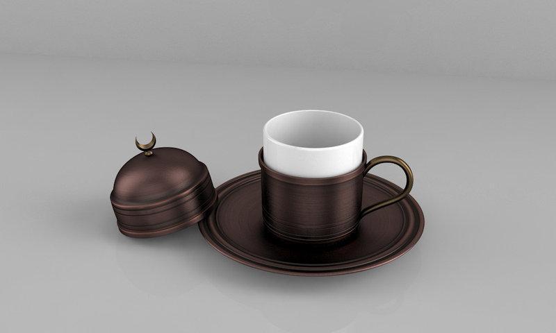 Набор чашка с блюдцем ZH из меди Патина